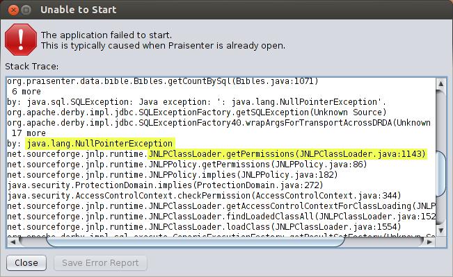 linux-startup-error